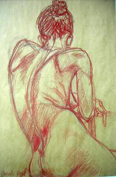 Aktstudie, Rötel auf Packpapier (70x100cm)