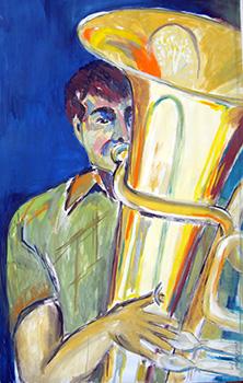 Tuba-Spieler, Kasein-Tempera (60x100cm)_1