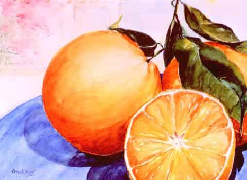 Orangen auf Ibiza, Aquarell (42x54cm)