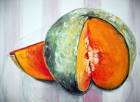 Melone auf Glasteller, Kasein-Tempera auf Leinwand (60x80cm)