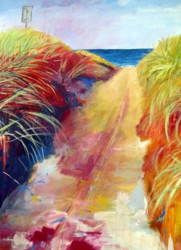 Durch Dünen zum Meer, Kasein-Tempera auf Leinwand (70x100cm)