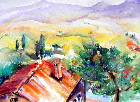 Pienza (Toscana) - Blick auf Monte Amiata, Aquarell (42x56cm)
