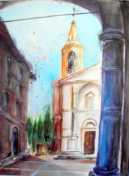 Pienza (Toscana) - Piazza Piccolomino, Aquarell (42x56cm)