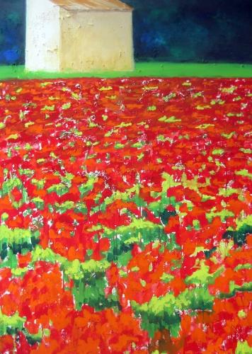 Moonblumen-Feld, Kasein-Tempera auf Leinwand (70x100cm)