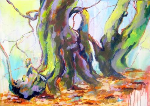 Waldstück I, Kasein-Tempera (100x80cm)