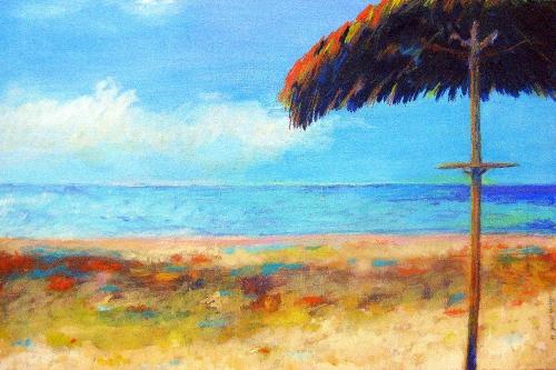Lieblings-Platz  - Playa del Duque, Kasein-Tempera (100x70cm)