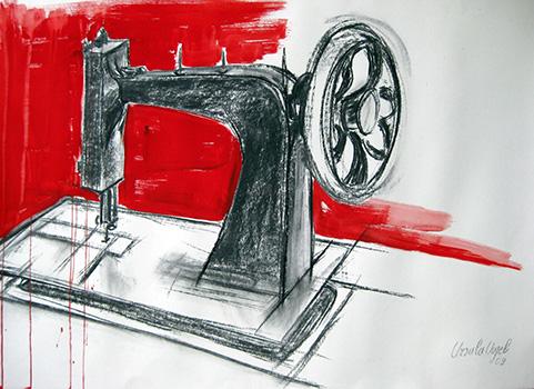 Nähmaschine, Naturkohle (70x100cm)