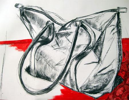 Shopper 01, Kohle auf Papier, (70x100cm)