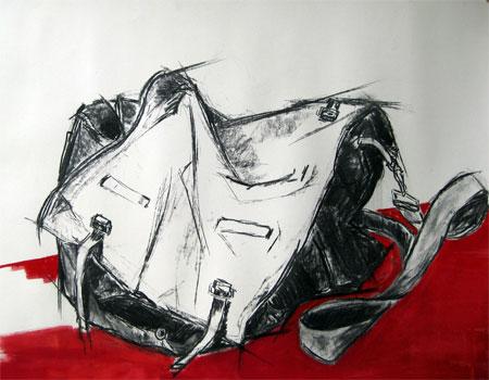 Shopper 02, Kohle auf Papier, (70x100cm)