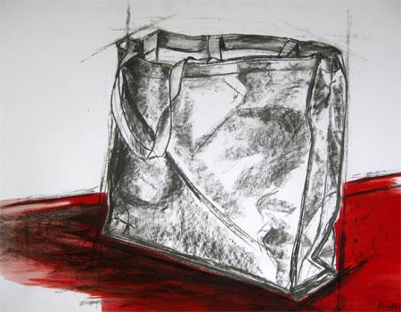 Shopper 05, Kohle auf Papier, (70x100cm)